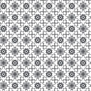 Kinderbehang Puck & Rose - Bloemmotief Wit/Zwart