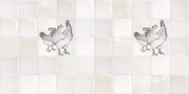 Antiek Tegeldesign met Kippen