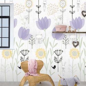 Kinderbehang Abby & Bryan - Love my garden lilac