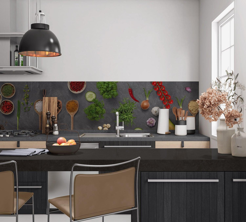 Keukenwand met print - Beton en groente