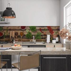 Keuken achterwand - Spices and Herbs wood
