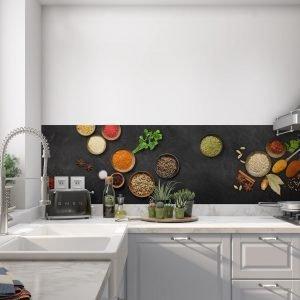 Keuken achterwand - Spices india love- slate