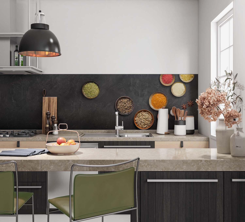 Keukenwand met print - Beton en kruiden