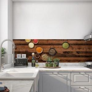 Keuken achterwand - Spices india love- wood