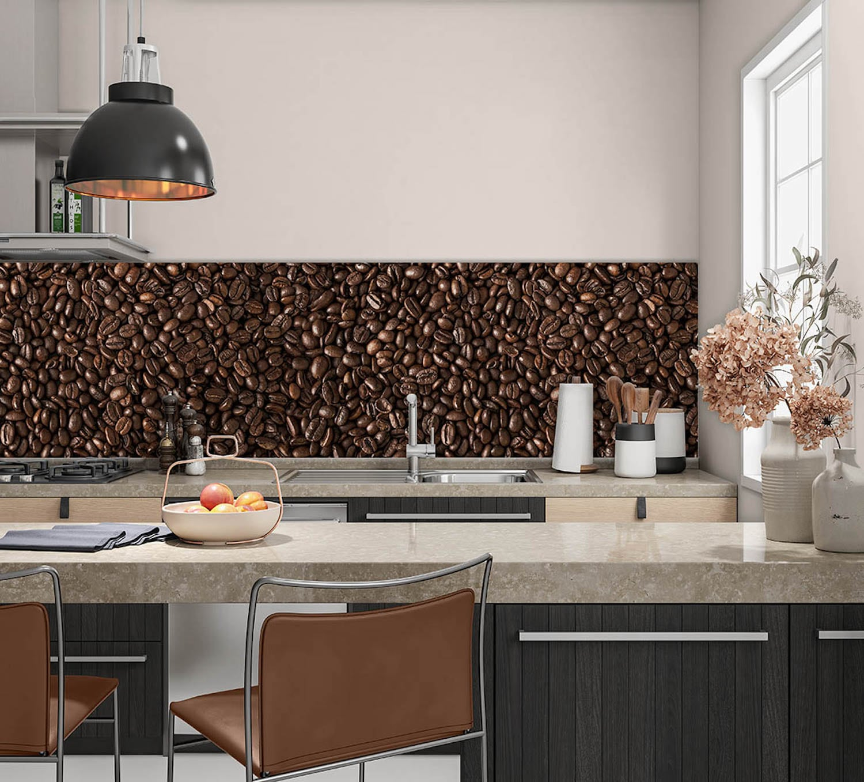 Keukenwand met print - Koffiebonen