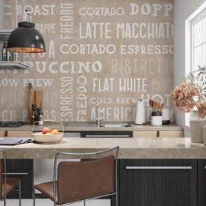 Keuken achterwand - Koffie koffie melk wit