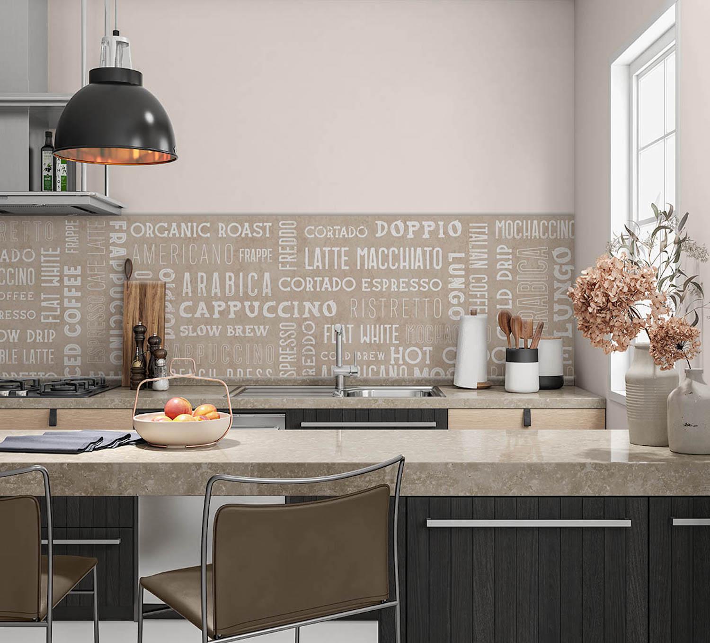 Keukenwand met print - Koffie teksten